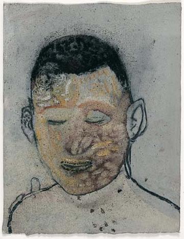 Friedrich Einhoff, Gesicht 1, Mischtechnik, 33 x 25 cm