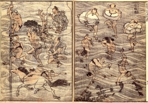 Hokusai Manga, Band 4, 1816, Bibiliothèque Nationale de France, Doppelseite mit Badenden