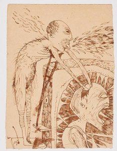 Foma Jaremtschuk, ohne Titel, undatiert, Mischtechnik auf Papier, 30,5 × 22,5 cm, courtesy Galerie Klaus Gerrit Friese
