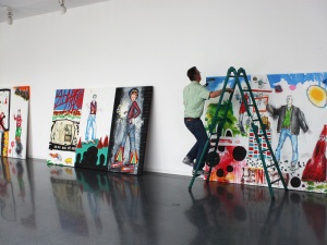 "The fabulous Mr. Frey while hanging the show at ""Galerie im Venet Haus"""