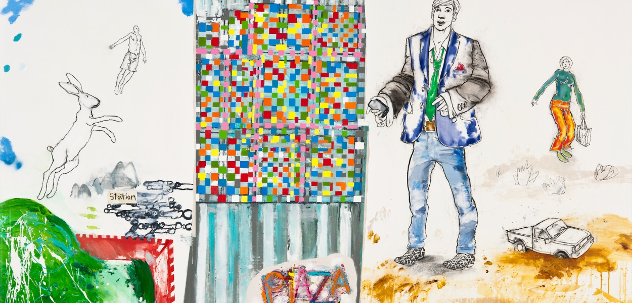 Tillmann Damrau - PLAZA/THE OVIDIANS, 2010, MixedMedia auf Leinwand, 190 x 230 cm