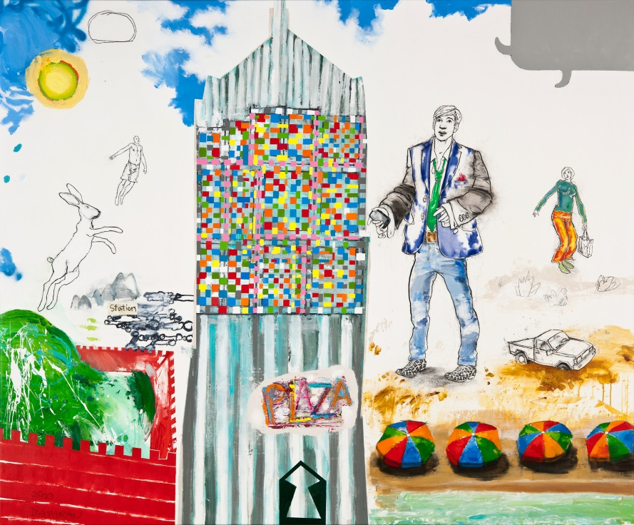 Tillmann Damrau - PLAZA/THE OVIDIANS, 2010, Mixed Media auf Leinwand, 190 x 230 cm