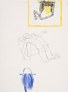 Tillmann Damrau, HOME, 2010,  Mixed Media/Papier, 40 x 29,7 cm, courtesy Galerie Anja Rumig