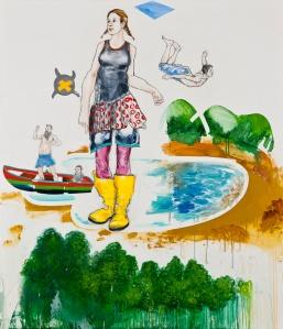 Tillmann Damrau, YALLA, 2011, Mixed Media/Leinwand, 140x 120 cm, courtesy galerie wagner +marks