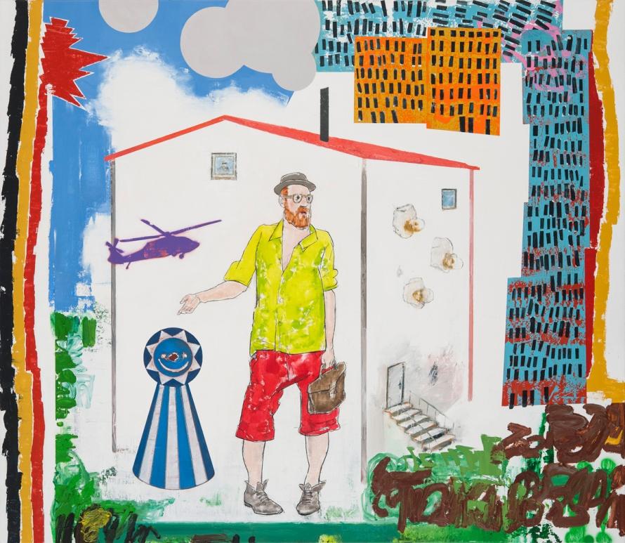 Tillmann Damrau - DER PALAST, 2013, Mixed Media auf Leinen, 130 x 150 cm