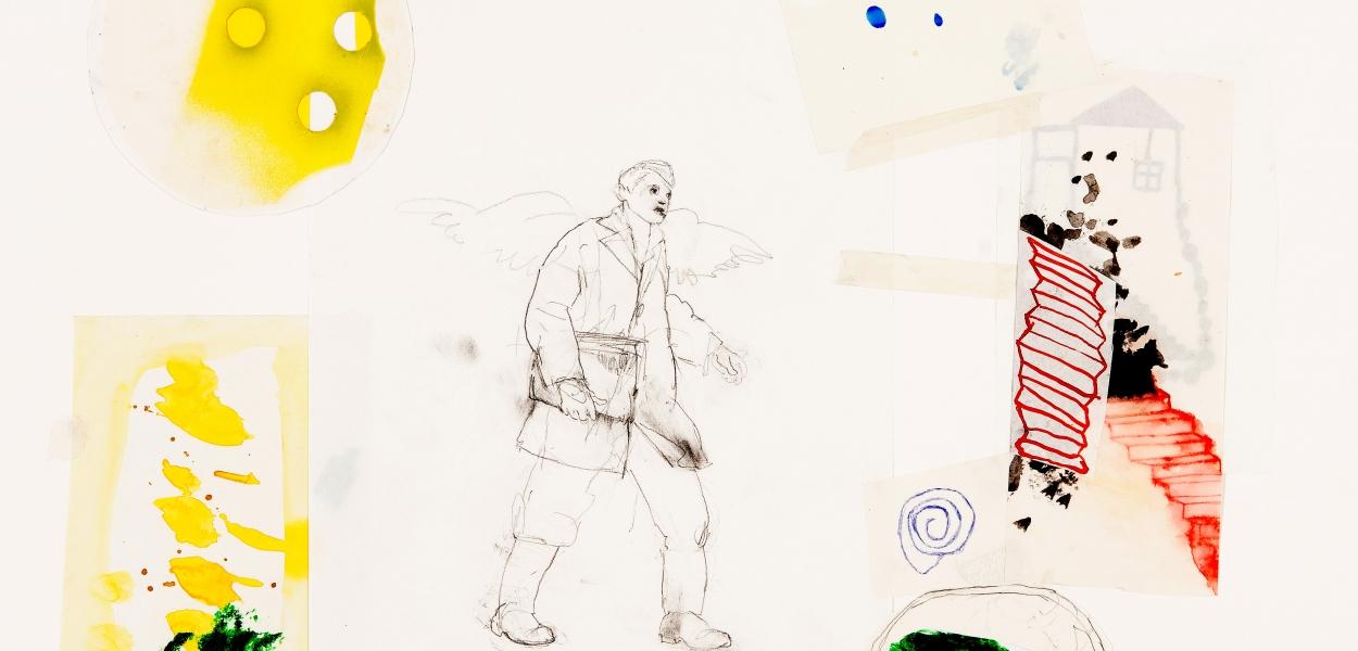 THE MESSENGER, 2015, Mischtechnik auf Papier, 50 x 70 cm